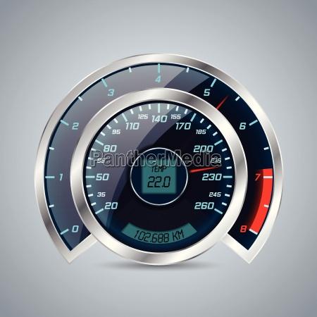velocimetro brillante con gran cuentarrevoluciones