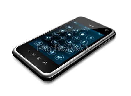 smartphone con interfaz de iconos de