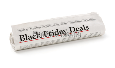 rollo de periodico titulado black friday