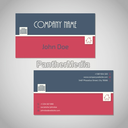 blue red business card with white