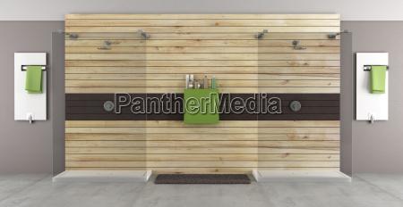 banyo moderno con ducha doble