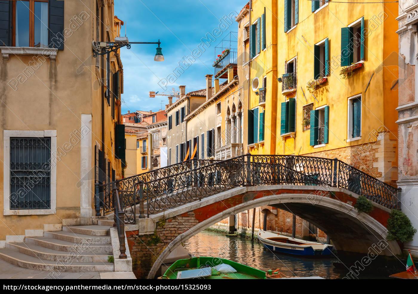 canal, lateral, colorido, y, puente, en - 15325093