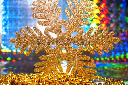 closeup of a christmas snowflake on