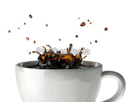 corona de cafe salpicadura en taza