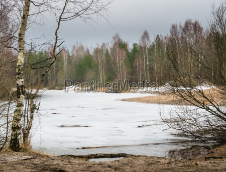spring march landscape at wood lake