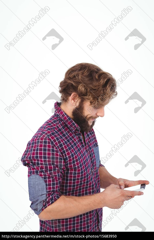 vista, lateral, del, hipster, usando, el - 15683950