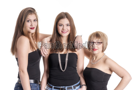 3 girlfriends in strapless tops