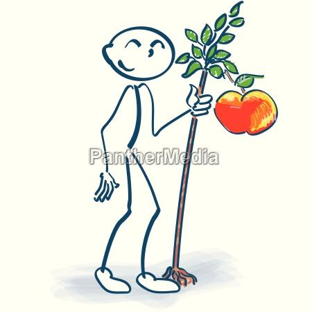 palo figura con manzanos