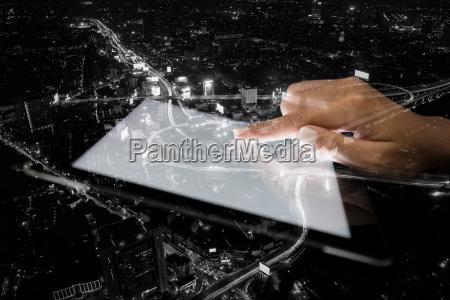 trafico noche exposicion tableta trafico de
