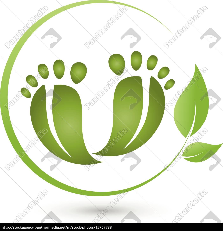 dos, pies, y, las, hojas, logotipo, pedicura - 15767788