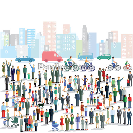 groups of people in the city