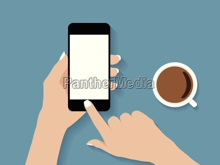 hand holding y touch phone disenyo