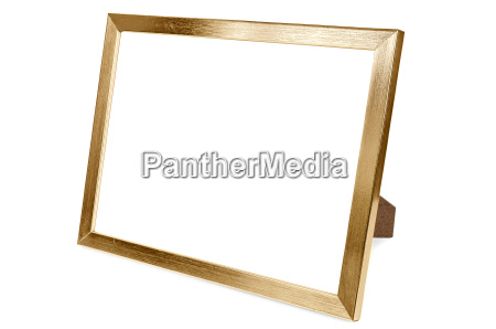 golden aluminum empty photo frame on