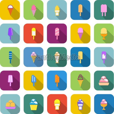 ice cream color icons with long