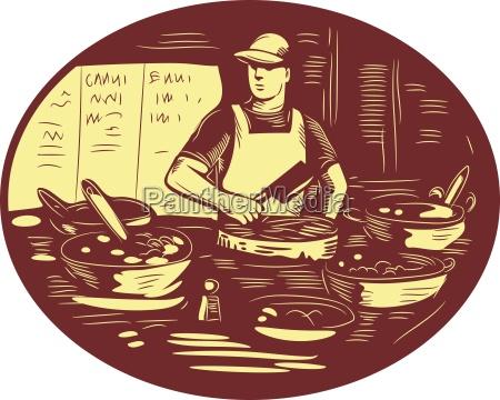 taco cook en la parada de