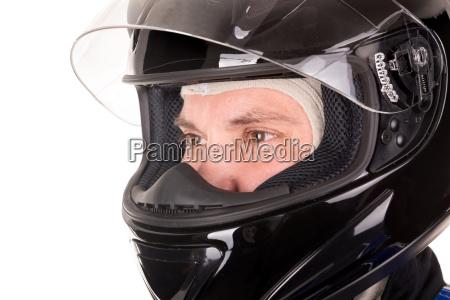 cabeza de conductor de carreras