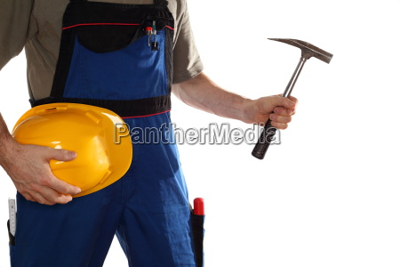 construction worker with hammer and helmet