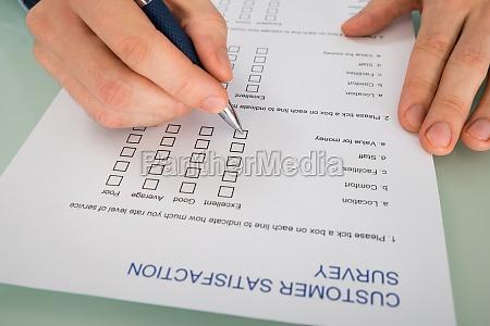 formulario de satisfaccion del cliente llenado