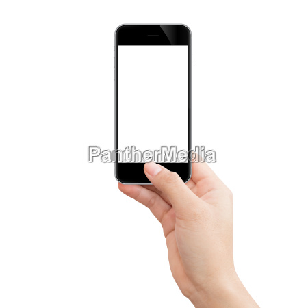 woman hand holding black phone isolated