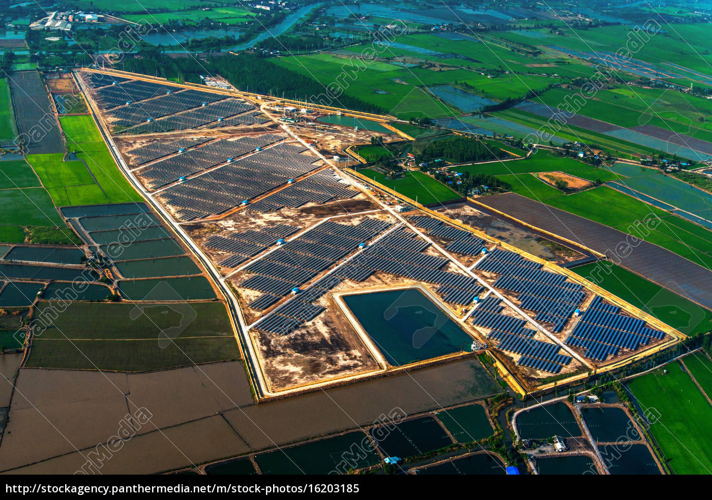 granja, solar, paneles, solares, foto, del, aire - 16203185