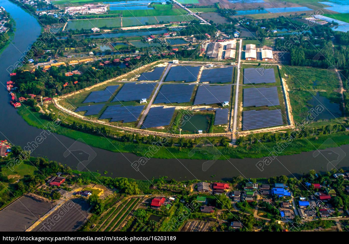 granja, solar, paneles, solares, foto, del, aire - 16203189