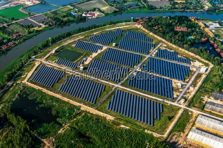 granja, solar, paneles, solares, foto, del, aire - 16203191