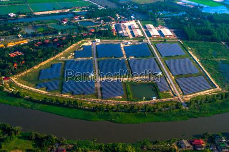 granja, solar, paneles, solares, foto, del, aire - 16203193