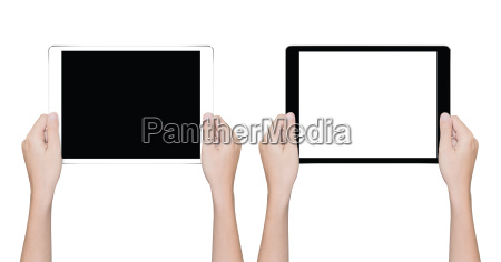 closeup hand holding tablet isolated white