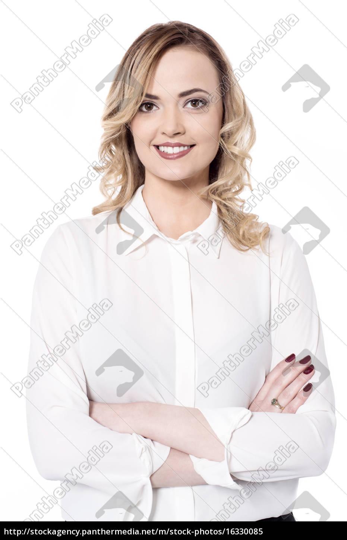 mujer, sonriente, aislada, en, blanco - 16330085