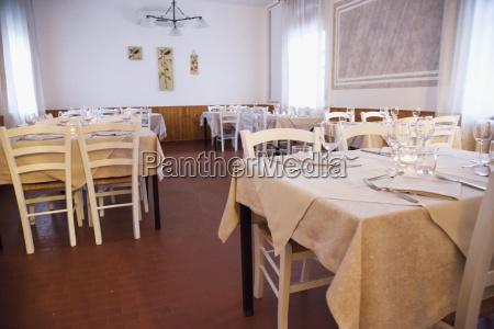 restaurant with white cloths