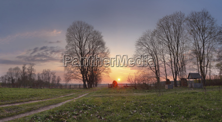 spring countryside sunset old country road
