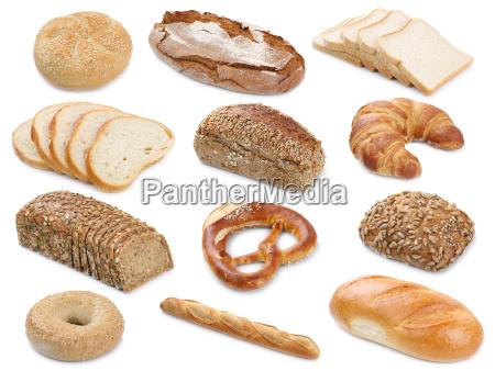 coleccion de barras de pan horneado
