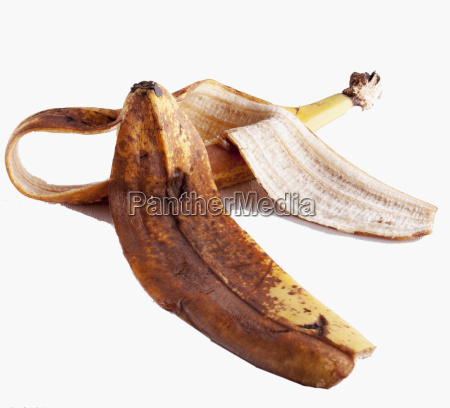 banana peel over white