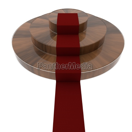 wooden podium with red carpet