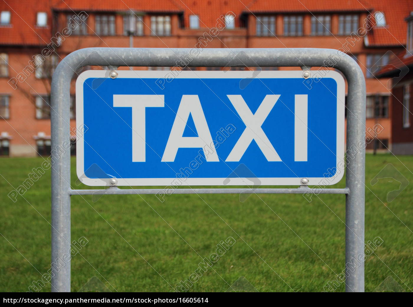 taxi, sign, closeup, with, building, and - 16605614