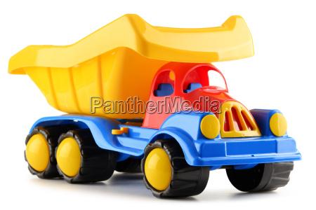 juguete de plastico colorido camion aislado