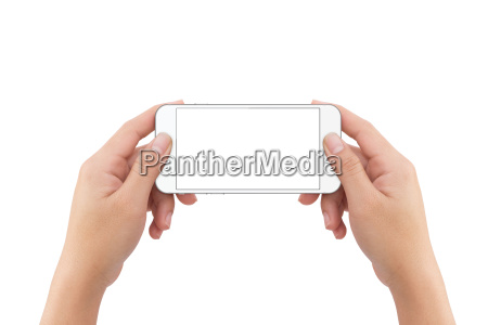 hand holding phone blank screen isolated