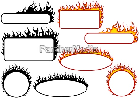 set of fire banners
