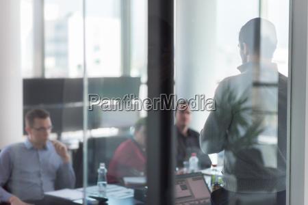 business team leader delivering presentation in