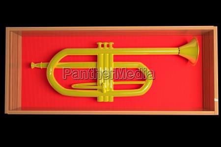 golden trumpet in red velvet box
