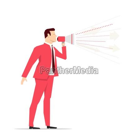 un empresario de traje rojo megafono