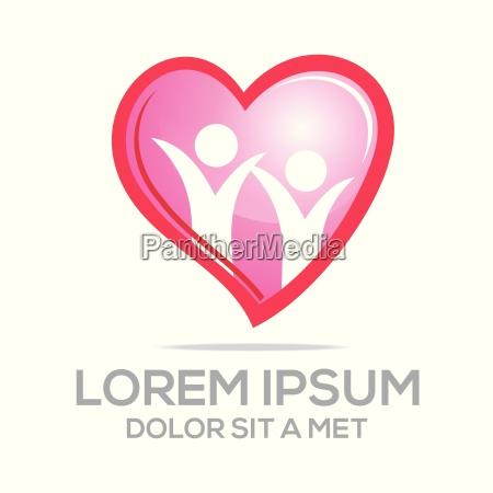 logo amor vector personas corazon