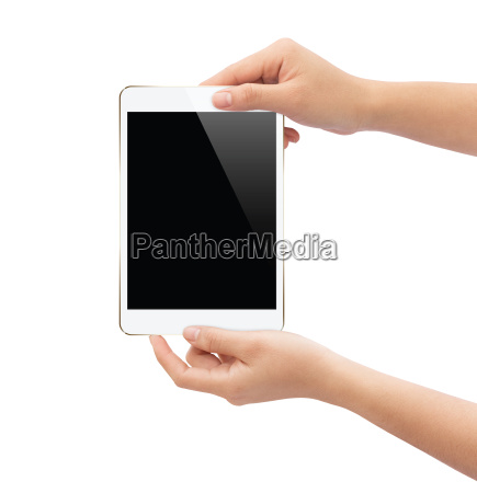 hand holding white tablet isolated on