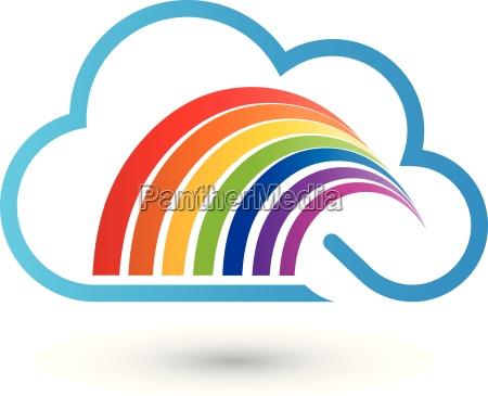 nube y arco iris pintor logotipo