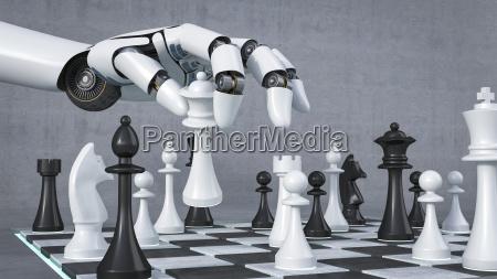 robot mano jugando ajedrez renderizado 3d