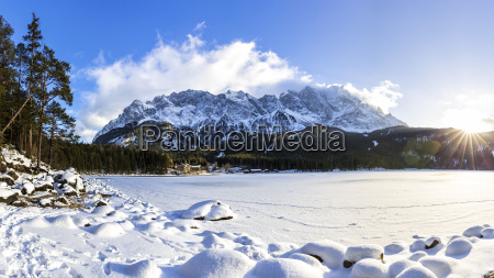 germany bavaria frozen lake eibsee with