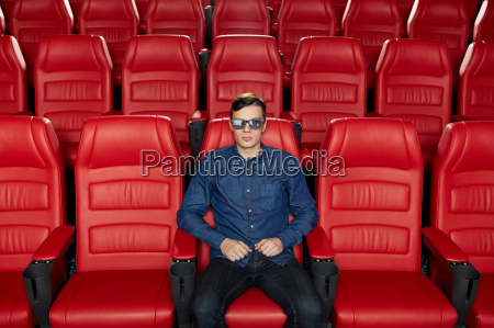 young man watching movie in 3d