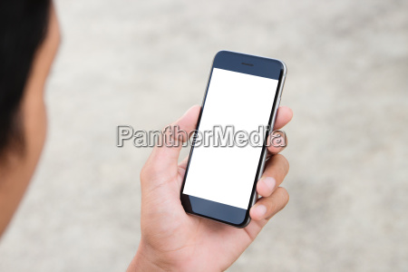 man holding phone white screen