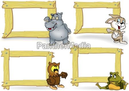marco de madera con animal de