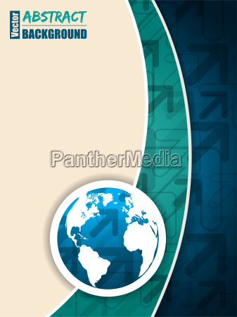 turquoise blue brochure with arrows and
